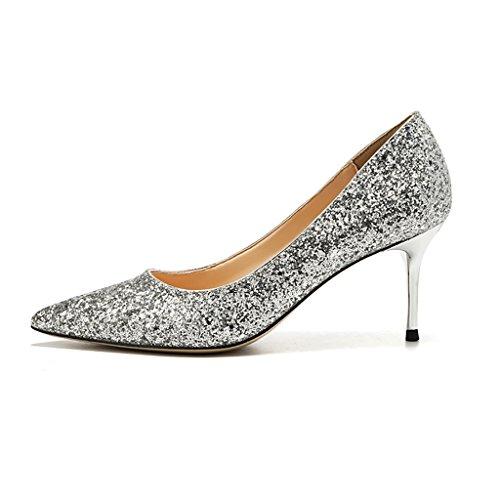 scarpe paillettes donna abito sera da scarpe per Scarpe WENJUN scarpe sposa tacco alto col a cristallo da punta da sposa con in nBn1f7W