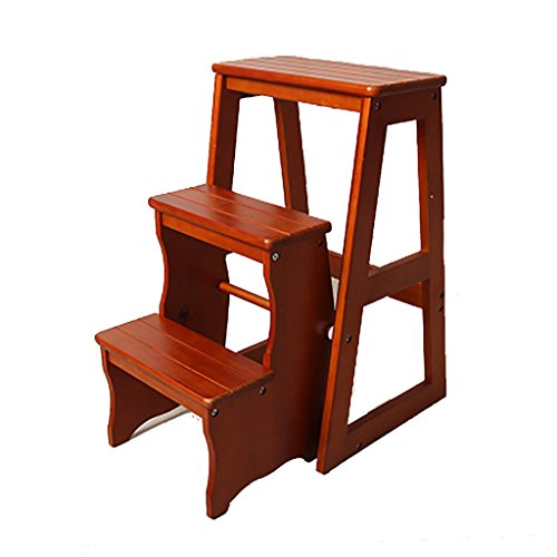 Ladder Chair Wood Step Stool Folding 3 Tier Bench Seat Utility Multi-functional Ladder Stool (Color : Light walnut) (Set Walnut Table Game)