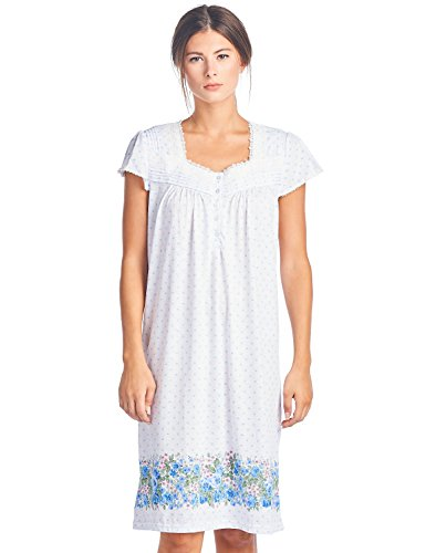 Casual Nights Women's Cap Sleeves Floral Lace Nightgown - Blue Dots - (Sleeve Floral Nightshirt)