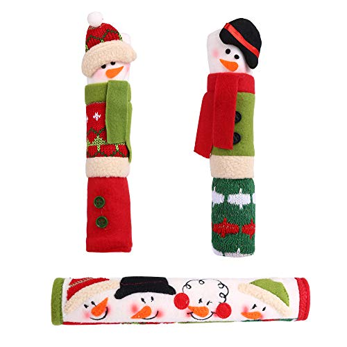 77Fine B Christmas Handle Cover Snowman Ornament Christmas Decor Gift for Home Kitchen Appliance Refrigerator Door Oven Microwave
