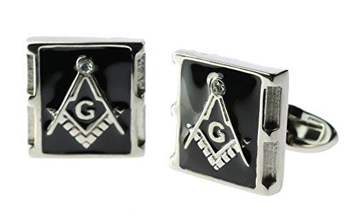 Sujak Military Items Masonic Square Mason Cuff Links 18K White Gold Overlay ALA1650 -