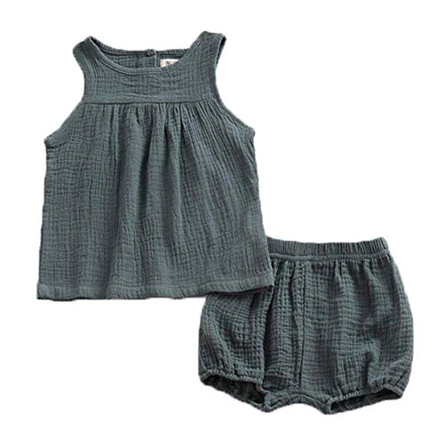 - ModnToga Baby Outfits Unisex Girls Boys Cotton Linen Blend Tank Tops and Bloomers (Green, 1-2T(90))