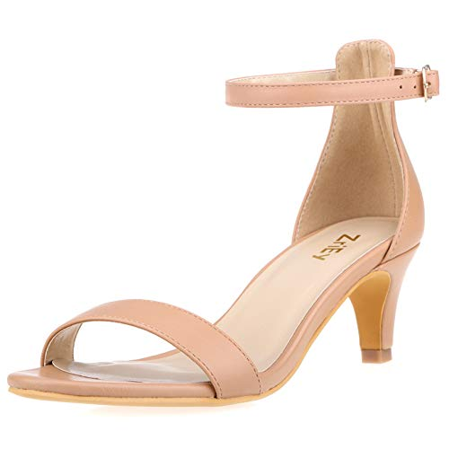 (ZriEy Women Sexy Open Toe Ankle Straps Low Heel Sandals 2 Inch)