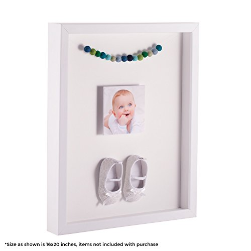 ArtToFrames 12 x 18 Inch Shadow Box Picture Frame, with a Satin White 1'' Shadowbox Frame and Porcelain Mat