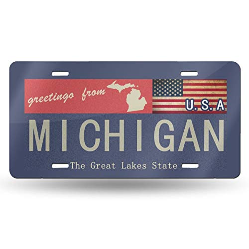 Charm Trend Greetings from Michigan Rusty Metal Sign with American Flag License Plate, High Gloss Aluminum Novelty Plate Tags, 5.9 L X 11.8 W Inches