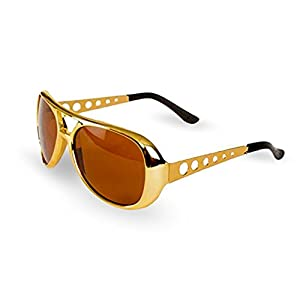 Elvis Rockstar 50's, 60's Style Aviator Shades, Gold Celebrity Sunglasses 1 Pair