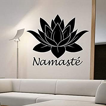 yaonuli Yoga Buda Etiqueta de la Pared Lotus Tatuajes de Pared Decoración del hogar Sala de Estar Dormitorio Decoración Mural Wallpaper 54X37cm