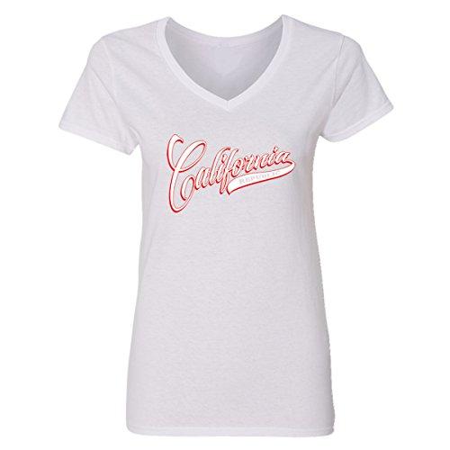 (CAMALEN Popular Baseball Fan California Republic V-Neck T-Shirts Women(White,X-Large))