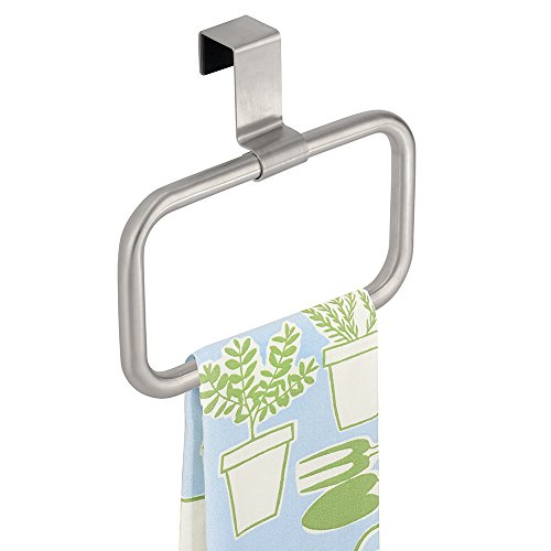 mDesign Modern Kitchen Over Cabinet Square Towel Holder – Hang on Inside or Outside of Doors, Storage and Organization Ring for Hand, Dish, and Tea Towels – 6.5″ Wide, Brushed Stainless Steel
