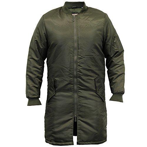 Herren MA1 Jacke Soul Star Harrington Mac Trenchcoat Tarnfmuster Militär Gefüttert Winter - Khaki - MA1LONPKB, XX-Large