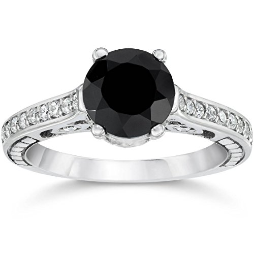 1.23CT Vintage Black Diamond Engagement Ring 14K White Gold