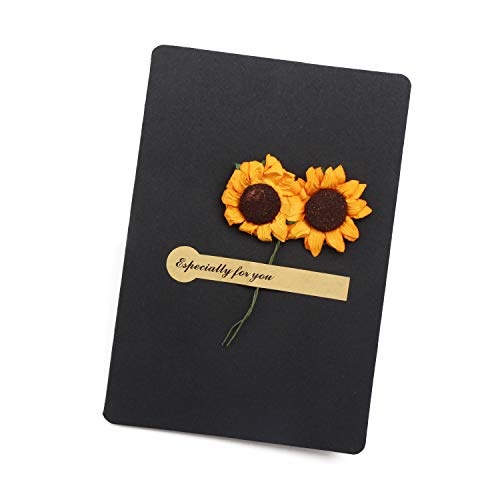 Artificial Sunflower Greeting Card, 10pcs Handmade Message Paper Invitation DIY Envelope Creative Thank Flower Postcard - Black (3.7