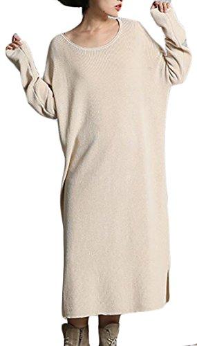 Cruiize Des Femmes De Manches Longues Occasionnels Tricot Fente Pulls En Vrac Maxi Robe Abricot