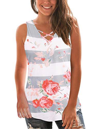 (Women's Blouses V-Neck Criss Cross T-Shirt White Floral Printed Striped Tops S)