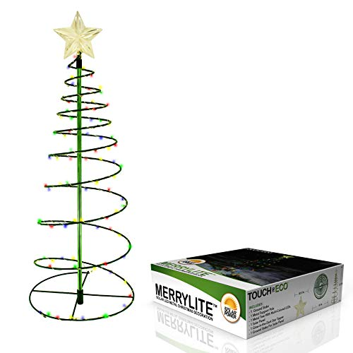 Touch Of ECO Solar Metal LED Christmas Tree Decoration Light - 70 LEDs, Easy Installation, 2 Feet Tall, Perfect for The Holidays - 1 Pack, Multi-Colored (Christmas Trees Outdoors)