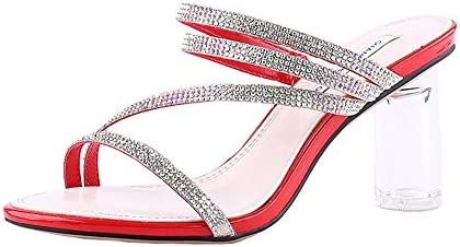 0d42257046a33 New High-heeled Slippers Thick With Fashion Crystal Female Sandals ...