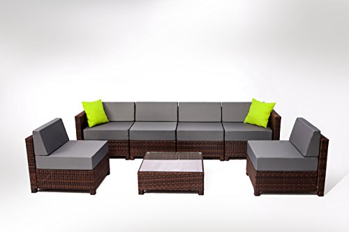 MCombo 7 Piece 6081 New Brown Wicker Patio Sectional Indoor Outdoor Sofa  Furniture Set With Grey Cushion
