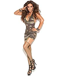 Camouflage Deep V Mini Dress with Attached Garters and Diamond Net Stockings Included(One Size, Camo)