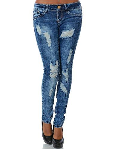 Damen Jeans Hose Skinny (Röhre) No 14041, Farbe:Blau;Größe:38 / M