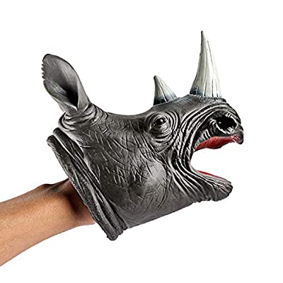ZY Soft Rhinoceros Head Hand Puppet Kids Child Stories Role Play Interesting Toys Glove Toy for Kid: Home & Kitchen