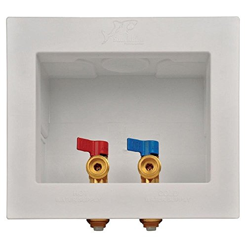 Sharkbite 24763A Washing Machine Outlet Box, 1/2 inch x 3/4 inch MHT, Push-to-Connect Copper, PEX, CPVC, PE-RT Pipe (Renewed) ()