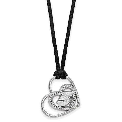 925 Sterling Silver Rhodium-plated LogoArt NASCAR # '5' Pierced Heart Pattern Pendant Necklace 18