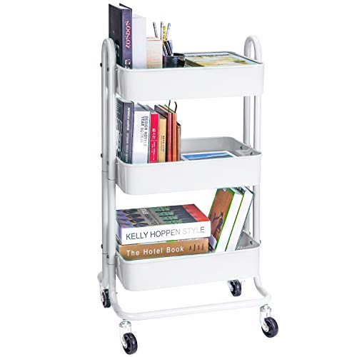 3-Tier Metal Rolling Utility Cart Heavy Duty Mobile Storage Organizer Craft Cart, White