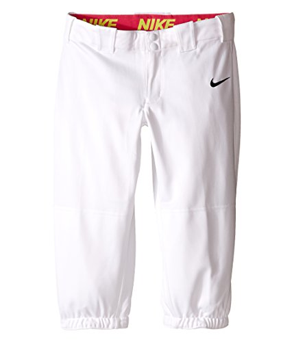 Nike Kids Girls' Diamond Invader Softball/Baseball Pant (Little Big Kids), White/Tm Black, LG (14