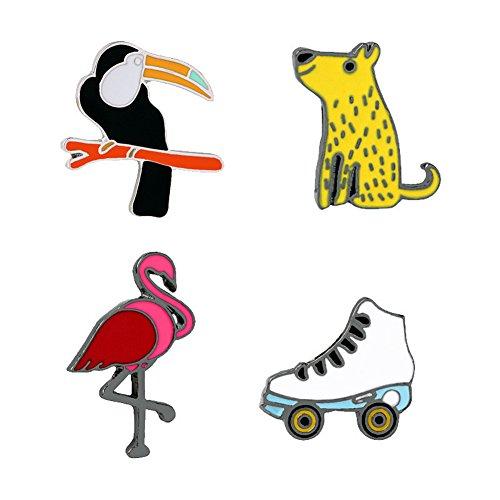 Enameled Bird Pin (SIVITE Cute Flamingo Bird Dog Roller Skates Enamel Brooch Pin Lapel Pins Metal Badge Set for Women Girls)