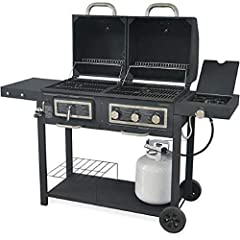 Enjoy the best of both worlds with this combination charcoal and gas grill. The Dual Gas/Charcoal Grill has plenty of cooking room with enough space for 32 burgers. The charcoal side is equipped with a height-adjust system to help control the...