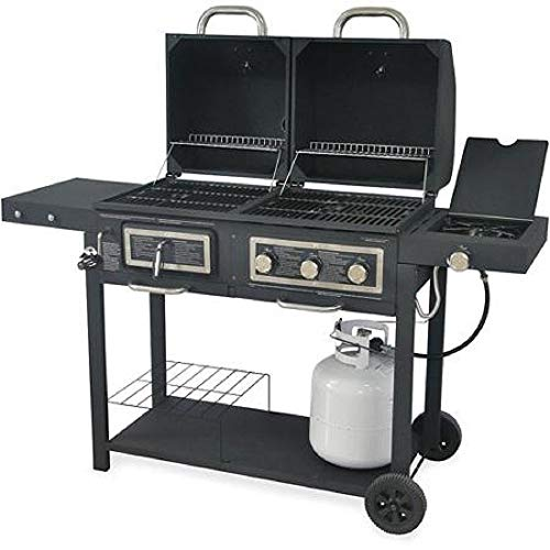 Hybrid Natural Gas Grill - Durable Outdoor Barbeque & Burger Gas/charcoal Grill Combo Comes with a Chrome Plated Warming Rack and a Porcelain Heat Plate,3-burner Grill with Integrated Ignition and Also Has a Handy Tool Holders