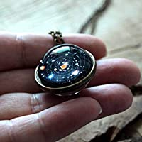 Haluoo_Jewelry Planet Pendant Necklace,Haluoo Universe Solar System Stars and Galaxies Ball Pendant for Women Girls Time Gemstone Necklace Long Sweater Chain Necklace Birthday Gifts