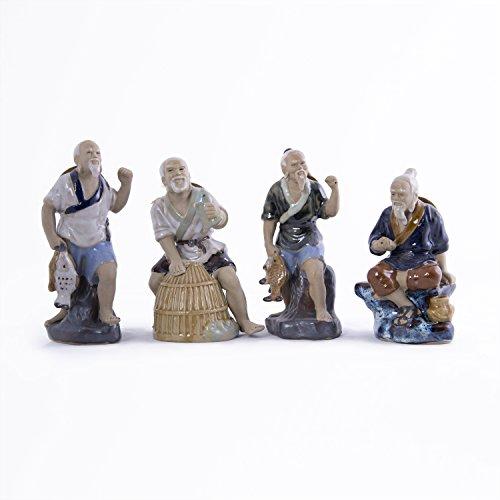 Fisherman Statue (Fisherman Figurines Chinese Mud men (Set of 4))