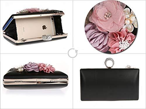 Handbag Purple Bag Ladies 4 Women for and Evening Banquet PVC Black 12cm Shoulder Buckle Magnetic Shape Bag 18 with Party Ring Flower EDLUX tHqEU