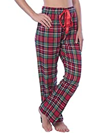 Beverly Rock Womens 100% Cotton Flannel Plaid Lounge PantsAvailable in Plus Size