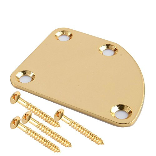 Fastmusic Electric Guitar Asymmetrical Neck Plate Joint Mounting Back Plate with Screws Gold
