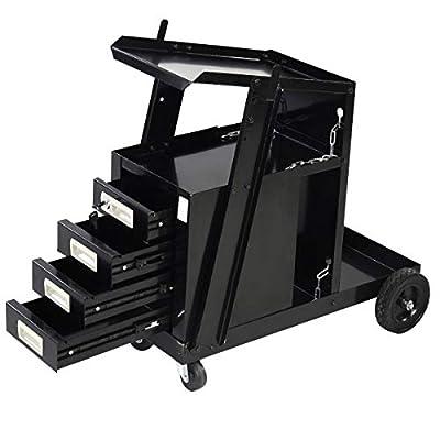 Goplus Welding Welder Cart MIG TIG ARC Plasma Cutter Tank Storage w/2 Safety Chains, 100 Lb Capacity, Portable 4-Drawer Cabinet