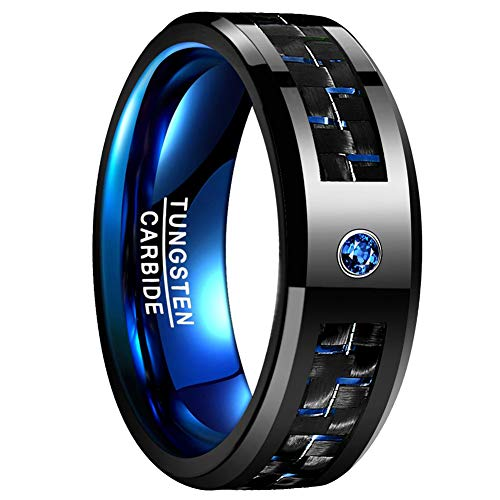 (Vakki Tungsten Wedding Ring with Black Carbon Fiber and Blue Cubic Zircon Bevels Comfort Fit 8mm Band,)