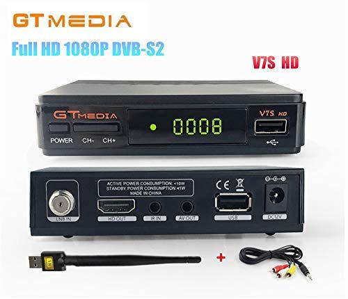 GTMedia V7S HD DVB-S2 Full HD 1080P Satellite TV Receiver Support PowerVu Biss Key Newcamd + 1pc AV Cable + USB WiFi by Freesat