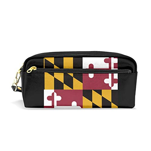 Multifunction Durable Cosmetic Bag Maryland State Flag Pencil Bag Pouch Bag Case Makeup Bag ()