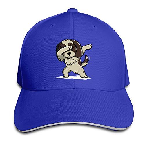 Unisex Dabbing Shih Tzu Cotton Baseball Hat Classic Trucker Hat for Mens Womens Blue