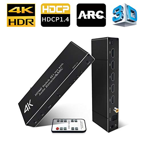 4K HDMI Switch with Audio Out (Optical/Toslink/Coaxial/3.5mm), Koopman 4x1 HDMI Switcher Audio Extractor Splitter, Up to 4K@60Hz, Supports HDMI 2.0, HDCP 1.4, 3D,ARC, DTS-HD/Dolby-TrueHD/DTS/Dolby