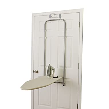 Household Essentials 144222 Over The Door Small Ironing Board with Iron Holder, Natural Cotton Cover