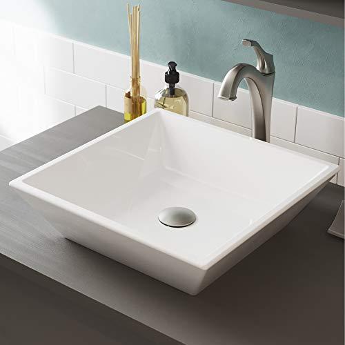 Kraus C-KCV-125-1200SFS ELAVO Sink and ARLO Faucet Bathroom Set, Spot Free Stainless Brushed Nickel/White