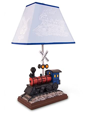 Train Table Lamp With Matching Night Light   Fantastic Hand Painted Details
