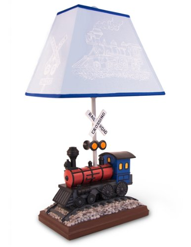 Train Room Decor - Train Table Lamp with Matching Night Light - Fantastic Hand Painted Details