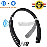 [Upgrade] Bluetooth Headphone Speaker 2-in-1,YOCUBY Foldable and Retractable Wireless Neckband Earbuds with Built-in Speaker and Microphone Noise Canceling Sports Headsets for iPhone, Android