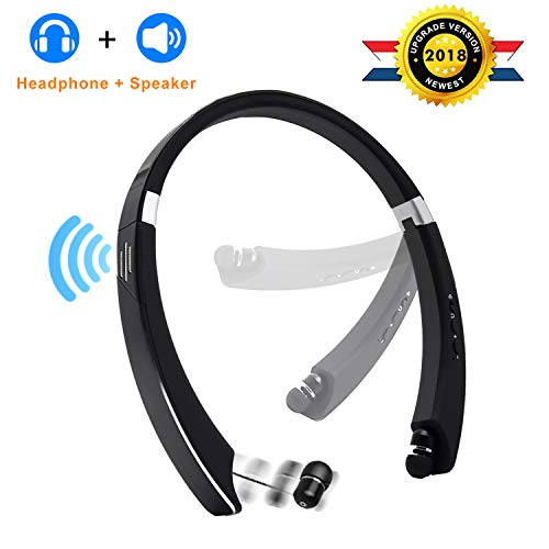 [Upgrade] Bluetooth Headphone Speaker 2-in-1,YOCUBY Foldable and Retractable Wireless Neckband Earbuds with Built-in Speaker and Microphone Noise Canceling Sports Headsets for Android
