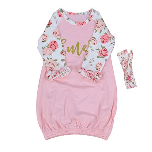 0-24M-Baby-Girl-Gold-Words-Floral-Night-Gown-Long-Sleeve-Pajamas-with-Headband