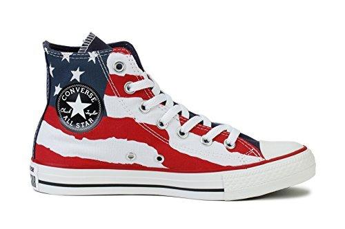Converse Chuck Taylor American Flag Print Hi Sneakers (6 (B)M US Women / 4 D(M) US Men)